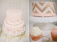 Chevron stripped gold cake...to die for! -minus the pink bubbles-