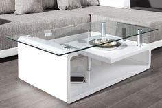Exclusiver Design Couchtisch CURVE hochglanz weiss Glastisch Tisch bei www.riess-ambiente.de