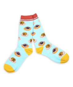 Another great find on #zulily! Blue & Yellow Pancakes Crew Socks by Soxnet #zulilyfinds