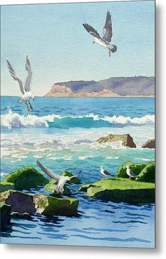 Point Loma Rocks Waves And Seagulls by Mary Helmreich - Point Loma Rocks Waves And Seagulls Painting - Point Loma Rocks Waves And Seagulls Fine Art Prints and Posters for Sale Watercolor Ocean, Watercolor Landscape, Watercolour Painting, Landscape Art, Landscape Paintings, Watercolors, Arte Peculiar, Seascape Paintings, Beach Art