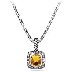 David Yurman Petite Albion Pendant Necklace with Citrine and Diamonds (4.595 VEF) ❤ liked on Polyvore featuring jewelry, necklaces, apparel & accessories, citrine, pendants & necklaces, long pendant, box chain necklace, long necklace pendant and citrine pendant