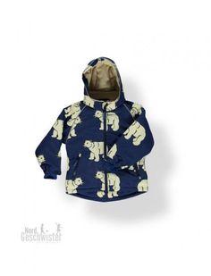 Smafolk Winter Jacke Jungen Navy Blau mit weißen Polarbären