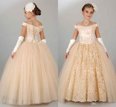 2016 New Cheap Champagne Girls Pageant Dresses Teens Off Shoulder Lace Tulle Long Ball Gown Kids Flower Girls Dress Birthday Communion Gowns Online with $79.4/Piece on Yes_mrs's Store | DHgate.com