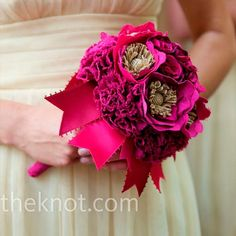 Each bridesmaid also carried gorgeous fuchsia, raspberry, and magenta colored fabric bouquets