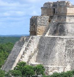 Uxmal, Yucatan.  SCARY coming down those stairs!!  No rails!