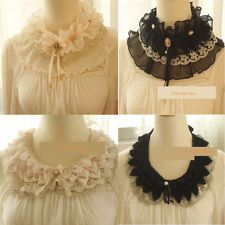 Oooo, <3     Ladies Stand Up Chiffon Lace Collar Detachable Choker Necklace