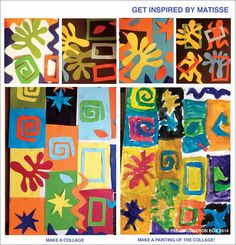 get inspired by Matisse, make your own Modern Art collages, free template to… Henri Matisse, Matisse Kunst, Matisse Art, Matisse Cutouts, 3rd Grade Art, Colorful Wall Art, Art Lessons Elementary, Collage Art, Art Collages