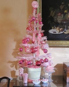 Decorate with candy ornaments for a Christmas tree that looks good enough to eat.