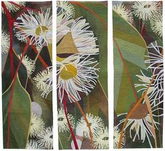 Vie © Ruth de Vos 2007 Size: by Materials: procion fabric d… Australian Native Flowers, Australian Artists, Hand Applique, Machine Applique, Fabric Painting, Fabric Art, Voss, Flower Quilts, Aboriginal Art