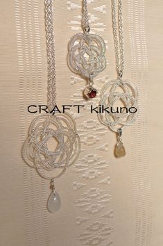 飾り結びシリーズー白梅、紅梅、黄梅-necklace- by CRAFT kikuno, Japan http://www.craftkikuno.com http://www.facebook.com/CRAFTkikuno/