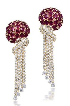 These Ruby and Diamond studded Octopus earrings, are exquisitely detailed. by Farah Khan Ruby Earrings, Ruby Jewelry, I Love Jewelry, Diamond Jewelry, Diamond Earrings, Fine Jewelry, Jewelry Design, Jewlery, Sapphire Pendant