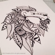 Lion drawing all ready to turn into a paper cut template www.sls-creative.com