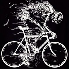 Sweating flesh skeleton on bicycle training for race cycling art illustration Cycling Tattoo, Cycling Art, Cycling Bikes, Road Cycling, Road Bike, Bike Tattoos, Bicycle Tattoo, Bike Illustration, Bicycle Art