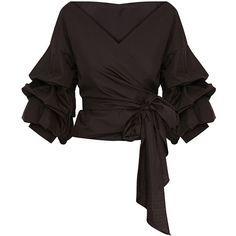 df0a898e7e73fe Marlow Oversized Black Ruffle Sleeve Low Shoulder Shirt ( 41) ❤ liked on  Polyvore featuring