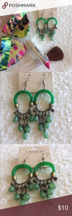 """Unique chandelier earrings Kelly green color dangle earrings. All resin no is feather weight!! Brass plated finish! Fish hook! Great with off the shoulder tops or dresses! Approx. 3"""" long. Jewelry Earrings"""