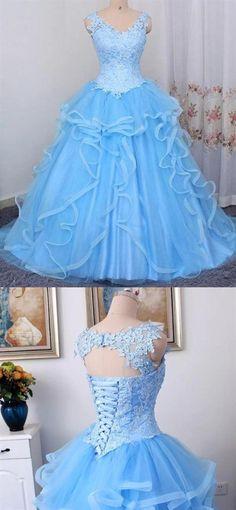 Blue V Neck Sleeveless Lace Appliques Prom Dresses A Line Sweet 16 Dresses Prom Dresses Online, Cheap Prom Dresses, Homecoming Dresses, Formal Dresses, Fall Dresses, Long Dresses, Sweet 16 Dresses, Pretty Dresses, Beautiful Dresses