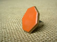 Geometric Pottery Ring Juicy Orange by NSPottery on Etsy