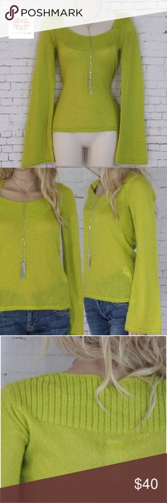 "NWT BENETTON LIME LIGHWEIGHT SWEATER Crafted with fun and flattering cut gorgeous lime sweater from BENETTON. Absolutely unique, very fashion forward square neckline and bell sleeves. Lightweight, soft blend of 30% mohair, 40% acrylic and 30% nylon. Hand wash. New with tag. Measurements: size S but fits M (selling as M). Length: 24"", sleeve: 27"", chest: 16"" with lots of stretch. United Colors Of Benetton Sweaters Crew & Scoop Necks"