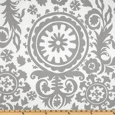 Items similar to Premier Prints Twill Suzani Storm Grey - Home Decor Fabric on Etsy Retro Fabric, Cool Fabric, Grey Fabric, Floral Fabric, Damask Curtains, Panel Curtains, Curtain Panels, Curtain Fabric, Bedroom Curtains