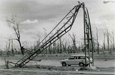 Twisted electricity pole, bent and twisted by Cyclone Tracy. Bert Wiedemann Collection.