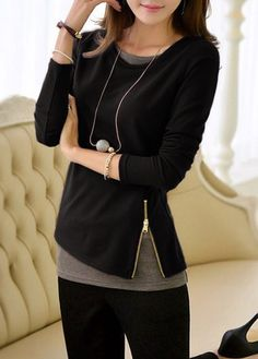 Black Long Sleeve Faux Two Piece T Shirt on sale only US$29.22 now, buy cheap Black Long Sleeve Faux Two Piece T Shirt at lulugal.com