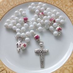 White Jade Rosary Baptism Gift First by AwfyBrawJewellery on Etsy