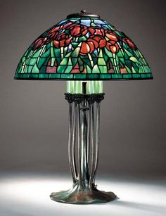"""Tiffany Studios, New York, Favrile Leaded Glass and Patinated Bronze """"Tulip"""" Lamp."""