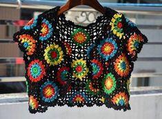 67 New Ideas For Crochet Granny Square Shrug Etsy Granny Square Sweater, Sunburst Granny Square, Square Scarf, Crochet Granny, Crochet Hats, Bolero Crochet, Granny Granny, Crochet Fox, Irish Crochet