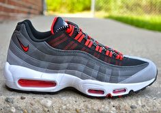 nike air max 95 wolf grey challenge red paint