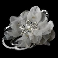 Silver Feather Fascinator Clip with Brooch Pin 8106