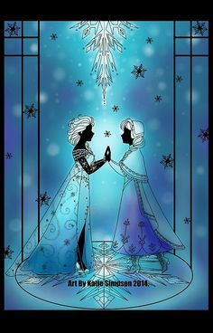 Silhouette Anna and Elsa