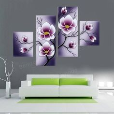 Purple Flower Combination Painting Printed On Canvas Frameless Drawing Home Cafe Wall Decor 3 Canvas Paintings, Multiple Canvas Paintings, Abstract Paintings, Tree Wall Art, Canvas Wall Art, Wall Art Prints, Canvas Prints, Wall Painting Decor, Wall Decor