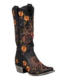 Time to reinvent my old pair of boots....maybe with base paint of turquoise and top with some floral or Southwestern motif design......then, to be sure to treat with a clear finish for protection.  Black Darla Leather Cowboy Boot by Lane Boots #zulily #zulilyfinds
