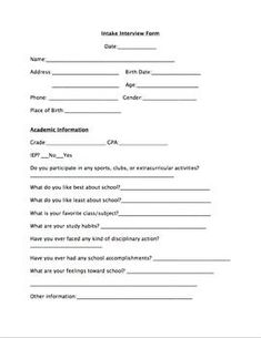 School Counselor Intake Interview Form