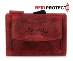 SecWal Kreditkartenetui Antikleder Hunter rot RFID-Ausleseschutz - Bags & more Card Holder, Cards, Red, Map