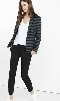 Handsome black and gray stripes deck this comfy, stretch knit jacket. It's a polished look over a blouse and dress pant during the work week that easily goes upscale casual with a tee and jeans. Knit Blazer, Striped Blazer, Knit Jacket, Parisian Chic, Polished Look, Black And Grey, Gray, Grey Stripes, Fashion Outfits