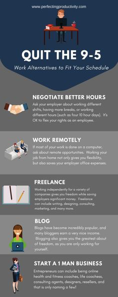 Workplace Flexibility Alternatives.  Ways to leave the 9-5 grind for a more flexible and rewarding career.  Improve your own opportunity.