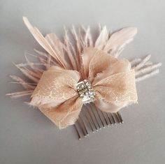 Blush Antique Lace Rhinestone Bow and Feather Hair by EmiciBridal, $75.00