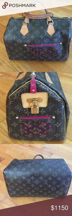 Louis Vuitton Perferated 30 Fuschia This pre-loved speedy has been loved and admired!  Perforation makes this bag classy as it spells out this iconic designers name. Handles show wear as does zipper pull. This bag has lots of life left in it and is so chic. Add a strap for shoulder use! Louis Vuitton Bags Satchels