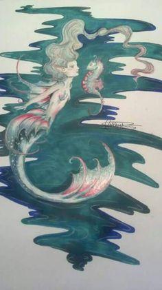 mermaid and seahorse