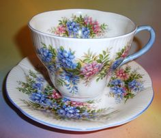 Royal Albert Blossom Time Series Wisteria Tea Cup and Saucer Set