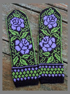 Ravelry: Project Gallery for Ukrainian Roses pattern by Natalia Moreva Double Knitting Patterns, Knitted Mittens Pattern, Fair Isle Knitting Patterns, Fingerless Gloves Knitted, Knit Mittens, Knitting Stitches, Knitting Socks, Knitted Hats, Yarn Projects