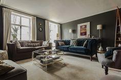 1 Lucite Coffee Tables, Lucite Table, Velvet Chesterfield Sofa, Boat Shelf, Little Greene, Georgian Homes, Living Room Interior, Living Rooms, Interior Design