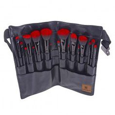 RED OMBRÉ 18 PC Pro Brush Set with Apron – Sable and Synthetic Hair