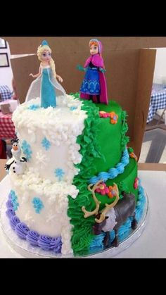 frozen birthday cake. this would be a cute concept with a sheet cake.