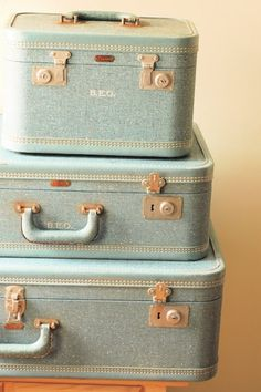 Painted Suitcases with A Girl and a Glue Gun