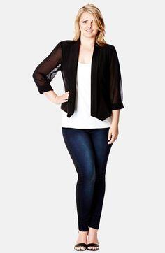 Plus Size Chiffon Sleeve Blazer