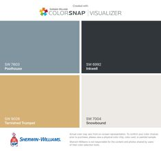 I found these colors with ColorSnap® Visualizer for iPhone by Sherwin-Williams: Poolhouse (SW Tarnished Trumpet (SW Inkwell (SW Snowbound (SW Exterior Trim, Exterior Colors, Exterior Paint, Paint Samples, Interior Paint Colors, Boathouse, Painted Floors, Pool Houses, Color Card