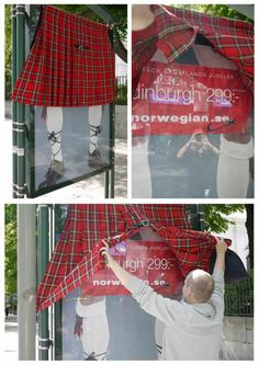 The Outdoor Advert titled Norwegian: New Destinations, The Kilt was done by Norwegian Airlines advertising agency for Norwegian Airlines in Sweden. Guerilla Marketing, Street Marketing, Bus Stop Advertising, Guerrilla Advertising, Creative Advertising, Marketing And Advertising, Advertising Ideas, Marketing Ideas, Funny Commercials