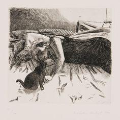 Leena and Misu - Marjatta Hanhijoki Etching, 50 x 35 cm. Collection Of Poems, Cat Art, Beautiful Words, Printmaking, Moose Art, Old Things, In This Moment, Drawings, Creative